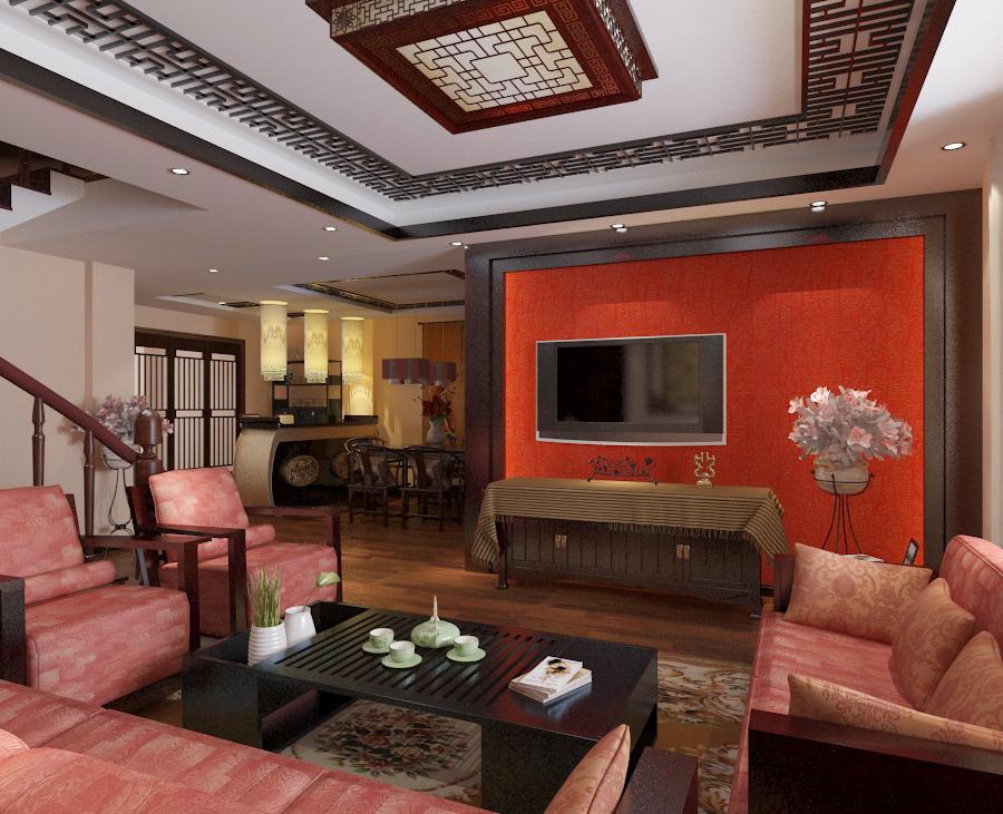 客厅杏黄色墙,黑底玫红色沙发,白色电视柜,淡黄色地砖