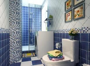 卫生间的地中海风瓷砖...
