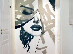 过道处的墙体彩绘效果
