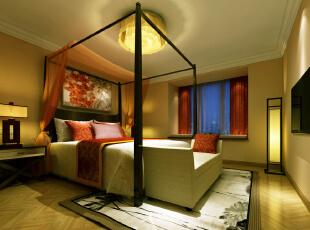 中式卧室,帷幔床,人字拼地板图片