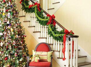 圣诞饰品装饰楼梯
