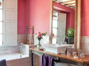 单身小资女的粉色简欧浴室