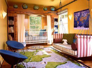 世界地图装饰的乐趣儿童房