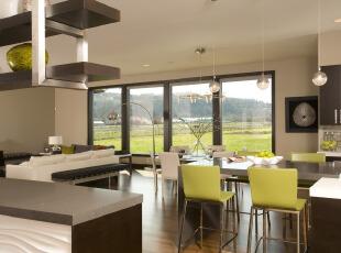 乡村公寓简约大气的开放式客厅