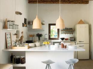 简欧厨房吧台设计效果...