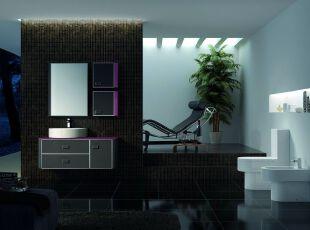 现代卫生间的紫色诱惑