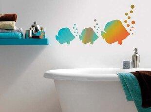 泡泡和热带鱼 海洋图案装饰儿童卫生间