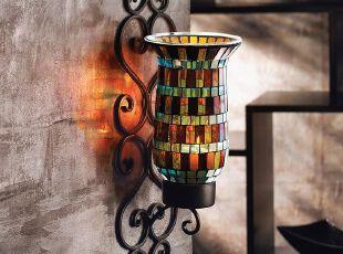 欧式琉璃灯饰装饰的墙...