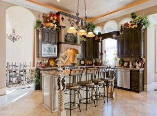 欧式田园风格厨房橱柜定制设计