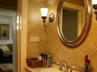 花纹繁复的镜框,显示出欧式复古风格的经典唯美。观花植物,也为宁静的卫生间注入了生机。