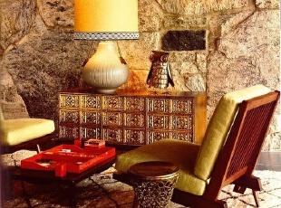 石头墙纸装饰的欧式复...