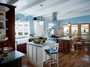 美式厨房混搭地中海蓝...
