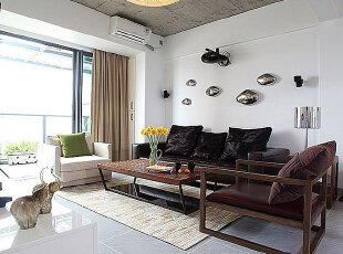工业风格客厅混搭现代中式元素