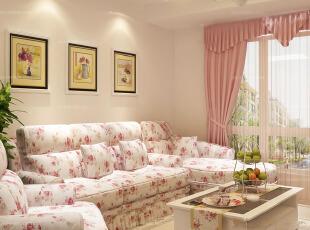 韩式田园粉色客厅设计