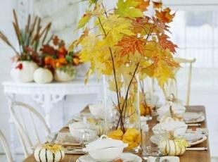 季节性植物装饰餐厅餐台