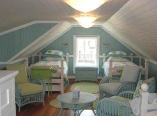 阁楼蓝色儿童房装修设计
