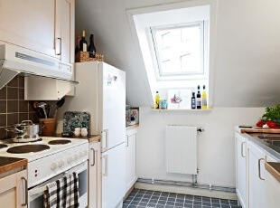 白色欧式阁楼厨房装修设计