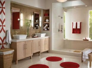 红色地毯装饰的简约卫生间
