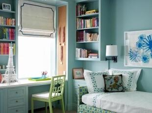 书房墙壁  恋上宁静的蓝色