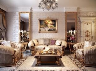 华贵的客厅  充满金色的点缀