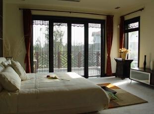 中式落地窗 巧配竹卷帘