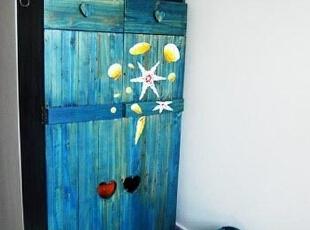 做旧处理的地中海风情蓝色储物柜