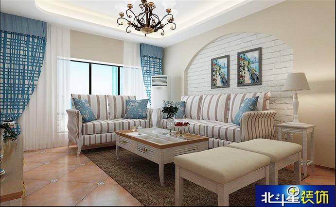 裸露的墙砖的沙发背景墙搭配地中海风景画,感觉是如此的闲适.