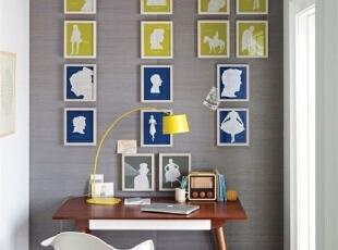 简单的书房DIY装饰画,让整个灰色的墙面都活跃起来,个性有趣。