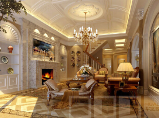 欧式火炉让屋主人显得很有修养,房间里的巨幅油画和壁橱里的瓷器无不图片