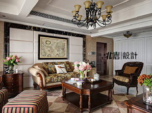 背景墙软包,客厅,美式,