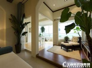 在客厅阳台的地方做一个休息室,可以让主人闲暇时候喝茶享受阳光。,休息室,