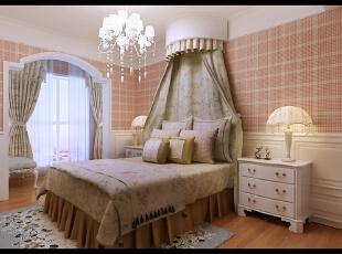 卧室采用粉色的壁纸,看起来卧室会比较温馨。,卧室,