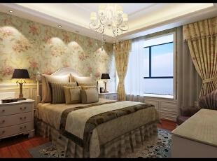 卧室的墙面采用碎花壁纸,仿佛置身于花园中。,卧室,