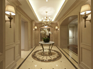 整条走廊进行了吊顶设计,大量灯的使用让走廊更加明亮。,走廊,