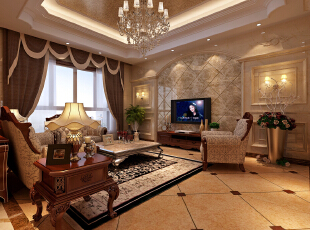 客厅的电视墙采用豪华的大理石面,高端大气上档次,客厅,