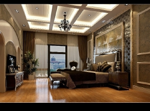 卧室的吊顶采用长方形的拼接面,顿时充满了立体感,卧室,