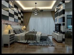 因为卧室比较大,我们把电视墙设计在了卧室的中间,也能起到隔离的作用。,卧室,