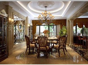 欧式的餐桌搭配舒适的欧式椅子,吊灯采用艺术感很强的欧式风格,摆设采用环绕的圆圈式,团圆的寓意不言而喻,红红火火的一家人一起聚集在这里,其乐融融。,餐厅,
