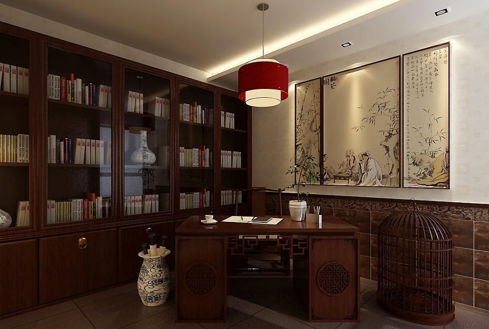红木材质的书柜 配上字画鸟笼瓷器 大气稳重
