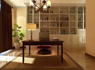 书房中设计了整一面墙的书架,可以收纳很多书籍和工艺品.图片