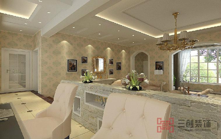 隔断,使客厅和餐厅之间的部分十分美观,在卧室则选择装修成大型的落地
