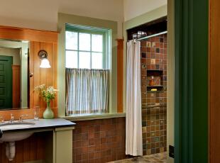 复古中带点清新的地中海卫生间,让原本呆板的卫浴间立马变得活跃起来,淡绿色与原木色的搭配,总能让人联想到,带点俏皮的文艺风。