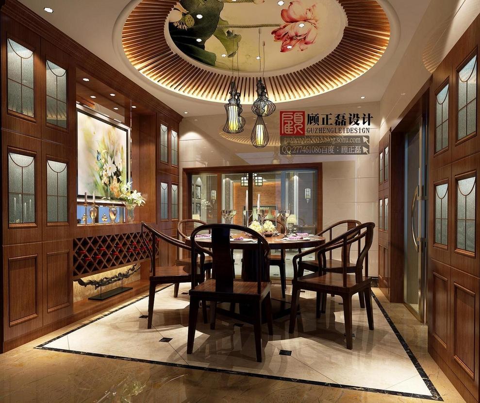 苏州常熟沙家浜350平米别墅简约中式风格餐厅设计