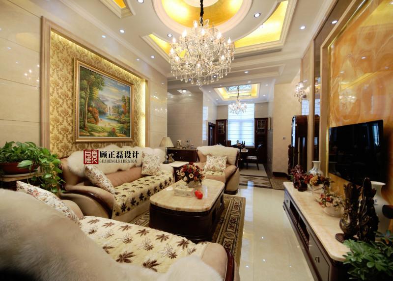 中南世纪城170平米跃层挑高公寓欧式风格客厅装饰设计实景展示
