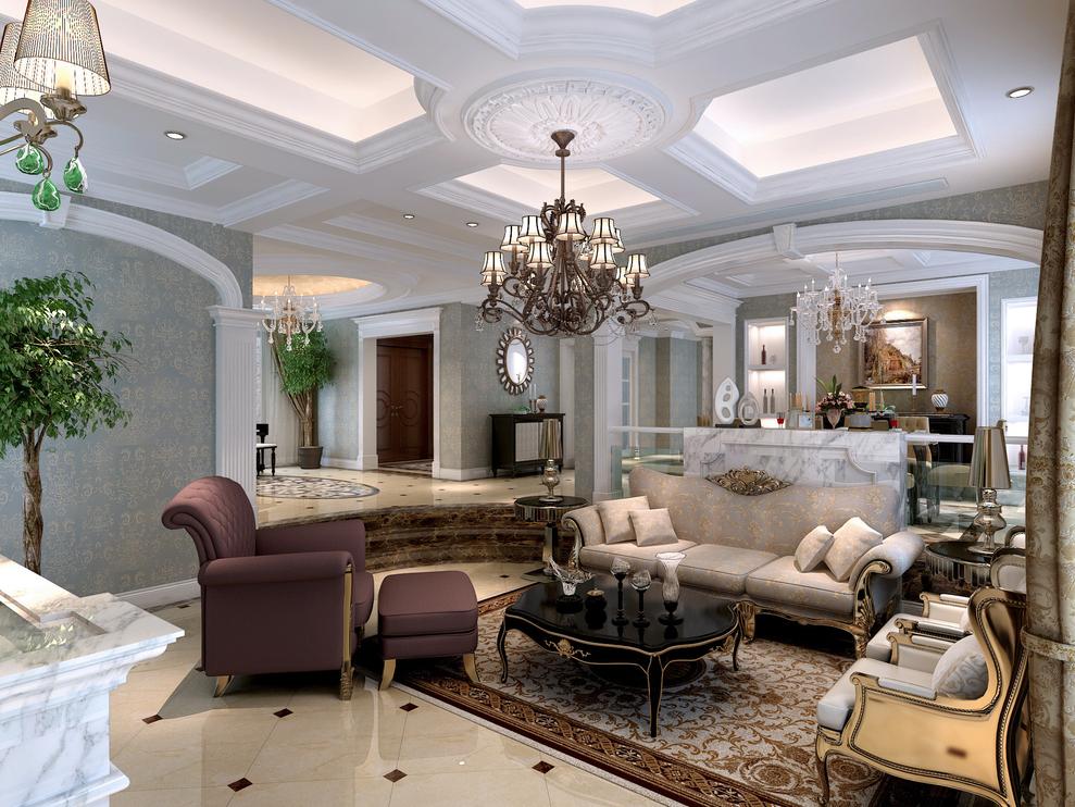 卧室则采用的是暖色调,看上去极其温馨~~~用的吊灯,休息台及落地窗户