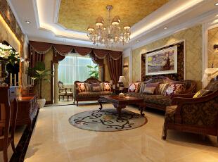阳台垭口罗马柱,地面大理石拼花,双层吊顶配以金色壁纸在吊灯的照射下