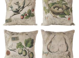 【纽约下城公园】 小鸟与美丽果园系列靠垫(一对或四个一套)现货,靠垫,