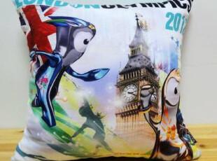 伦敦奥运 奥运吉祥物 外贸 英伦欧美 全球购 布艺印花 抱枕靠垫套,靠垫,