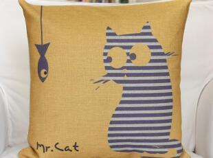 外贸 地中海Mr.cat9号猫咪棉麻抱枕汽车办公室靠垫靠枕含芯,靠垫,