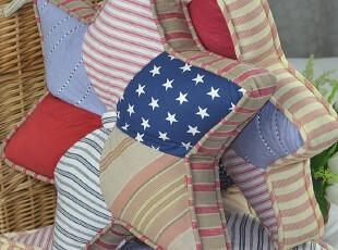 外贸原单 美式乡村拼布六角星抱枕 汽车装饰靠垫 含芯 40*40cm,靠垫,